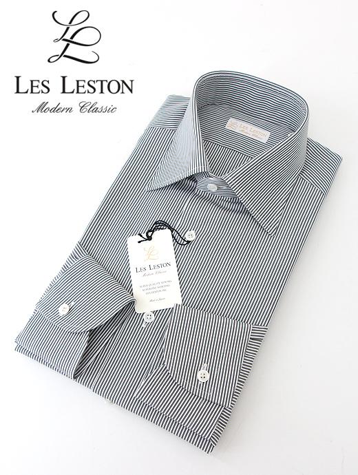 les381203-ホワイト×グレー LESTON/レスレストン LES ドレスシャツ/セミワイドカラー/ブロードストライプ