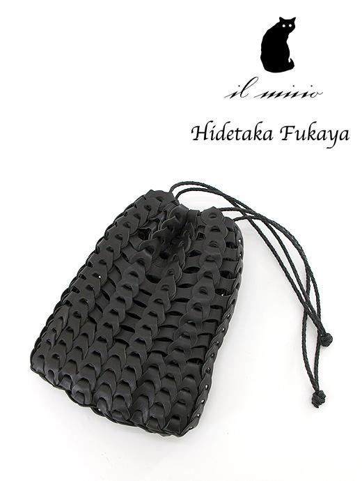 巾着/メッシュレザーミニポーチ/Boho Vacchetta Mini Bag il micio/イルミーチョ ilm381601-ブラック