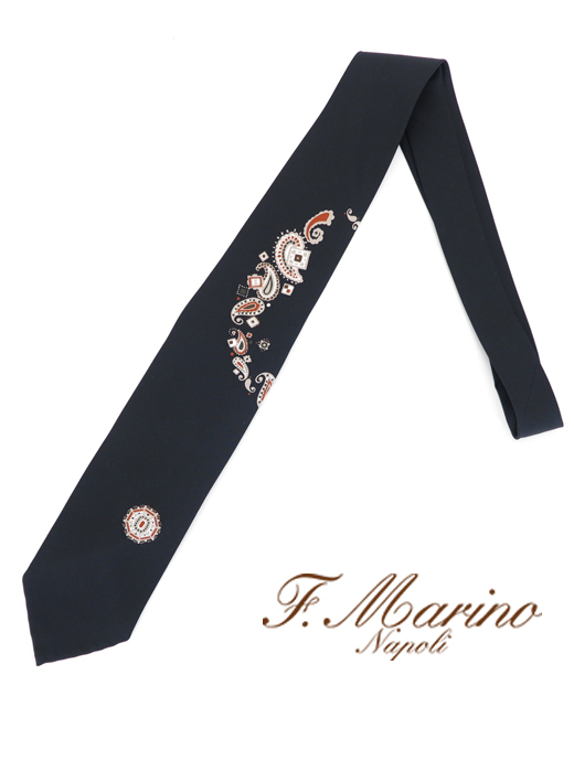 ネクタイ/シルク/スフォデラート Francesco Marino/フランチェスコ・マリーノ fma421806-ブラック