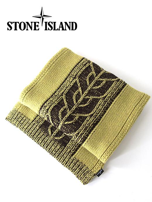 ニットマフラー ウールナイロン 手洗い可 STONE ISLAND 高級 sti421605-イエロー×ブラック 輸入 ストーンアイランド