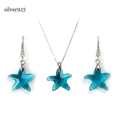 Ski Star Swarovski Necklace Earrings 925 Silver Swallow Crystal And Crystals