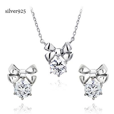 98c5b5aae Correspondence ribbon silver pierced earrings necklace set pierced earrings  necklace set silver necklace cute pendant love ...