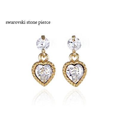 181ca8001 Petit pierced earrings Swarovski pierced earrings Lady's pierced earrings  petit pierced earrings heart glitter Swarovski pierced earrings ☆