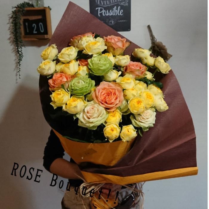 正規逆輸入品 付与 鮮度抜群 ボリュームたっぷりのバラの贈り物をしませんか?黄色 オレンジ グリーン フレッシュさは抜群 ビタミンカラーの元気なバラの贈り物 ROSE 元気をおくりたいあのかたへ Bouque