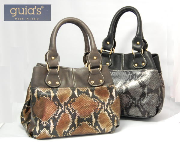 業界No.1 GUIA'S 世界の人気ブランド グイアスイタリア製ヘビ革型押しバッグ39000