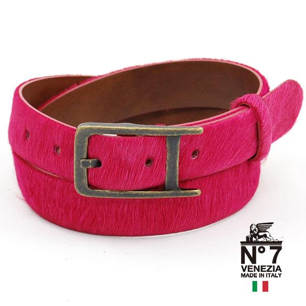 イタリア製レザーベルト/レディースponyポニーファーベルト/no7-s59-fuxiapinkフューシャピンクNO7ナンバーセブン【ランキング】【ファッション】【バックル】【革小物】【belt】【ブランド】16000
