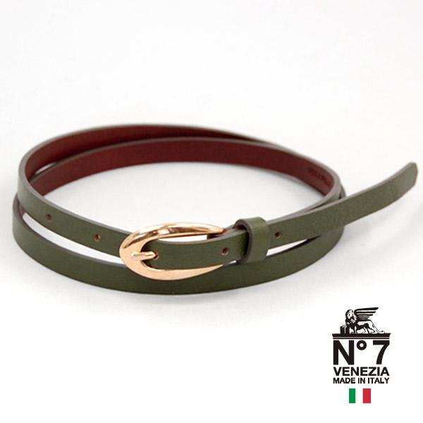イタリア製レザーベルト レディースゴールドオーバルバックル セール特価 ナローベルトno7-s16-greenグリーンNO7ナンバーセブン ランキング ファッション belt バックル 11000 至高 革小物 ブランド