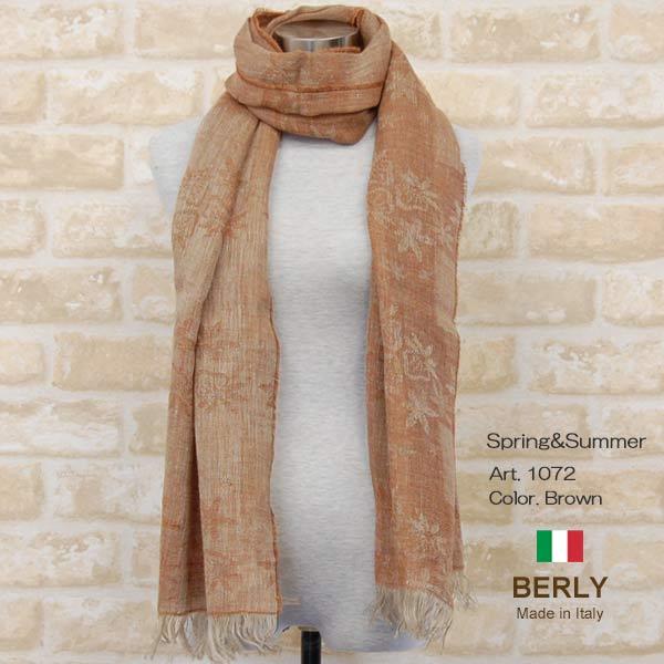 ストール春夏イタリア製レディース メンズ ユニセックスberly-1072-brown BERLYベリー マフラー 『1年保証』 ☆正規品新品未使用品 11000 women スカーフ stole men