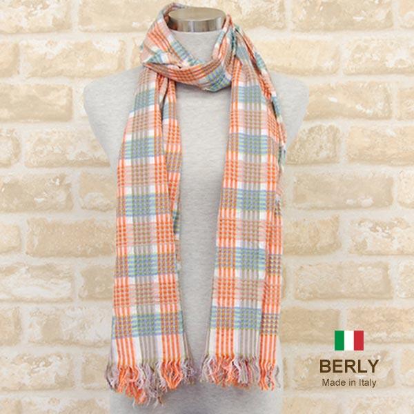 ストール春夏イタリア製レディース メンズ ユニセックスberly-25023-orange BERLYベリー 今ダケ送料無料 マフラー men 11000 stole women 流行 スカーフ