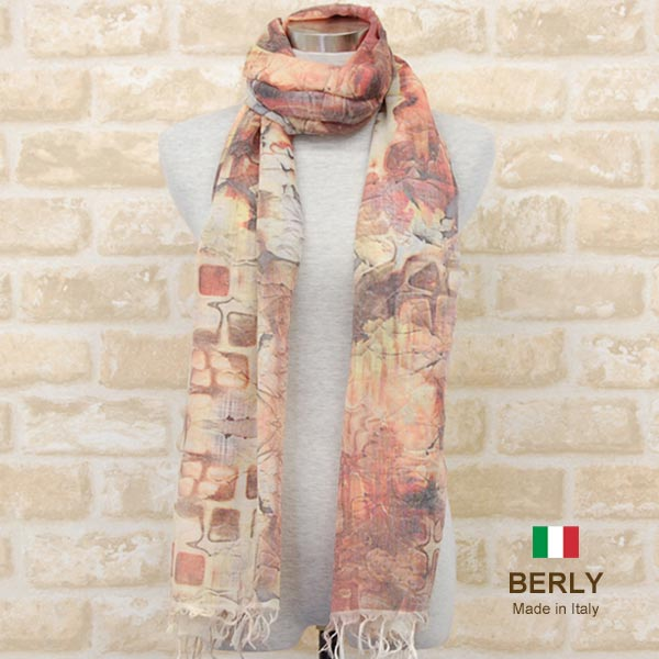 プリントストール春夏イタリア製レディース メンズ ユニセックスberly-bomba-beige BERLYベリー マフラー 12100 women 新商品!新型 men 大幅値下げランキング stole スカーフ
