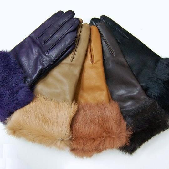 イタリア革手袋グローブ ラビットファー付レザーグローブP1111W BOERIOボエリオレディース 13000