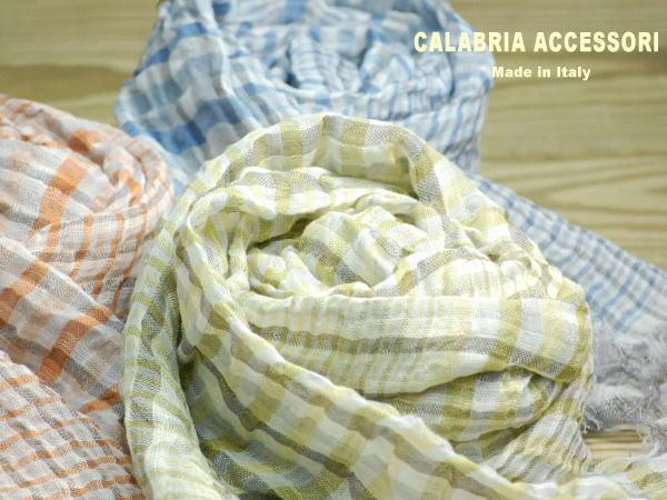ストール イタリア製 リネンギンガムチェックストール 営業 ANKUR 2CALABRIAACCESSORIカラブリアアクセサリー レディース 9800 stole マフラー スカーフ ファッション 商品