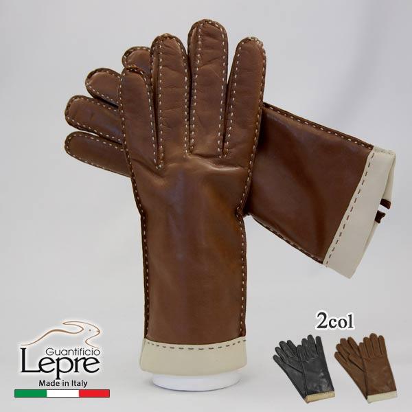 カシミヤライナー革手袋グローブ切替えレザーグローブイタリア製レディース1102cLEPRE レプレ16000