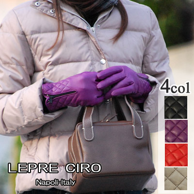 ジップキルティング レザーグローブウールライナーイタリア製 グローブ/革手袋 レディース1115wLEPRE CIRO レプレ シロ