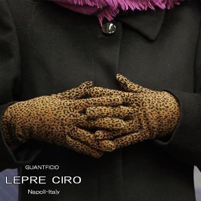 レオパード柄レザーグローブウールライナーイタリア製革手袋 グローブ1238wLEPRECIROレプレシロ/レディース