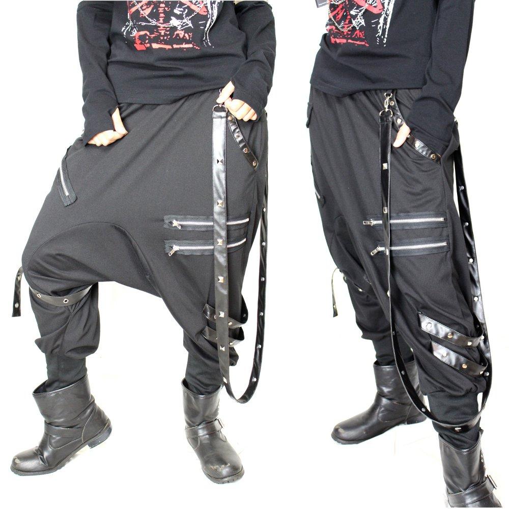 スタッズ付き合皮ベルト&ZIP付き†装飾サルエルパンツ メンズ レディース パンク バンド系