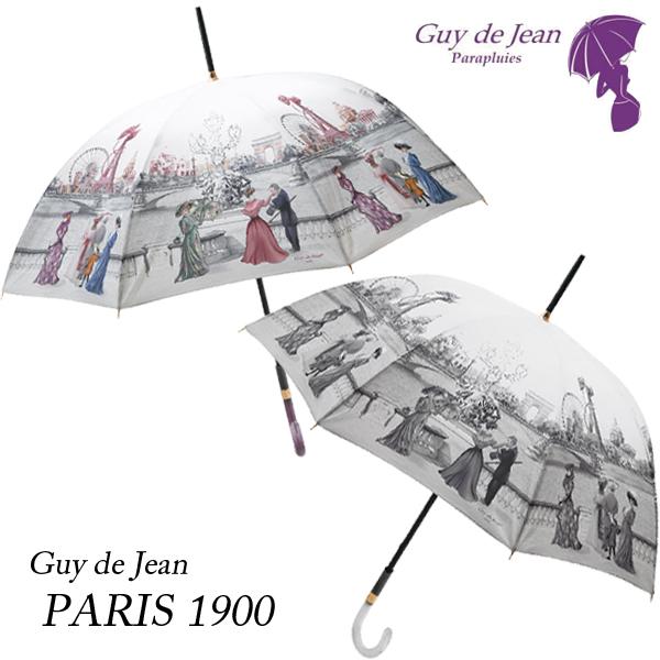 [Guy de jean ギ・ドゥ・ジャン][PARIS 1900 パリ 1900]女性用 フランス製 パリ風景 レトロ プリント ブランド 雨傘 母の日