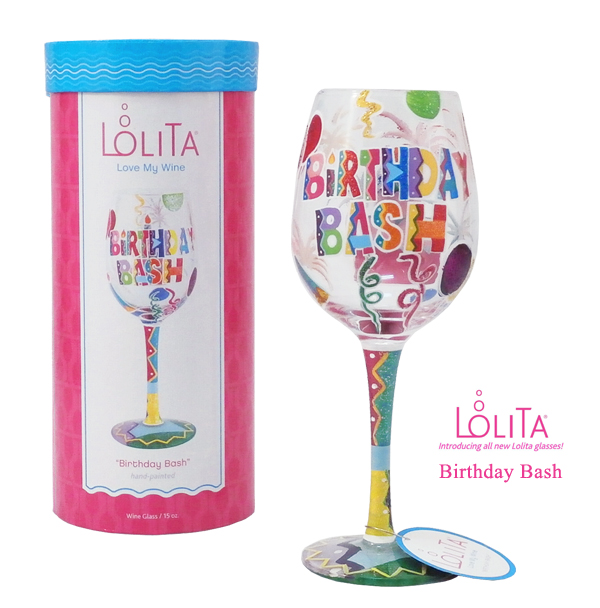 送料特典 セレブも愛用 ロリータ 交換無料 ヤンシーのワイングラス 1度見ると心に残るこだわりの詰まったお洒落なデザイン性 正規品 大人気! ワイングラス BIRTHDAY Lolita ブランド バースデー BASH バッシュ