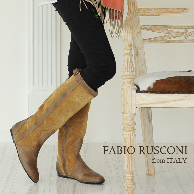 【お買い物マラソン 60%OFF】[FABIO RUSCONI]ファビオルスコーニスエード バイカラー ロング ブーツ ジョッキーブーツローヒール レディース 本革 イタリア製