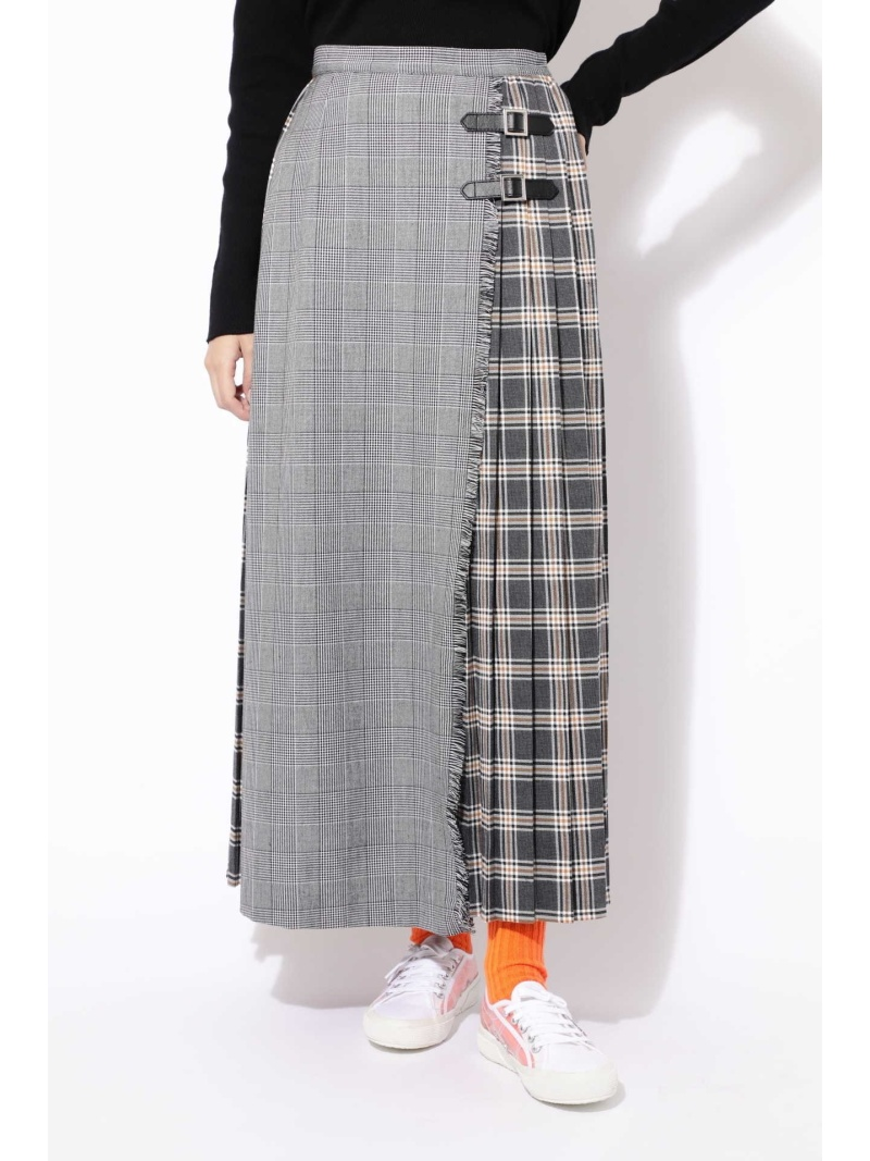[Rakuten BRAND AVENUE]チェックプリントプリーツスカート ROSE BUD ローズバッド スカート【送料無料】