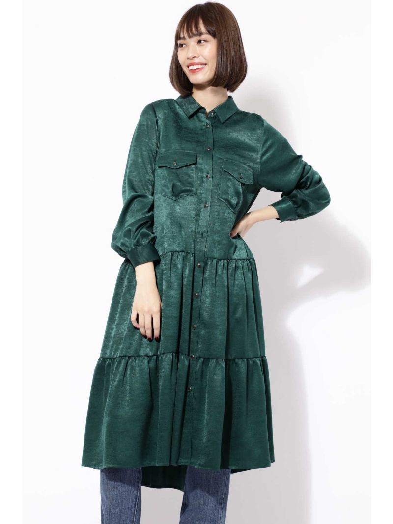 [Rakuten BRAND AVENUE]【SALE/30%OFF】2POCKET FRINGE TIERED DRESS ROSE BUD ローズバッド ワンピース【RBA_S】【RBA_E】【送料無料】