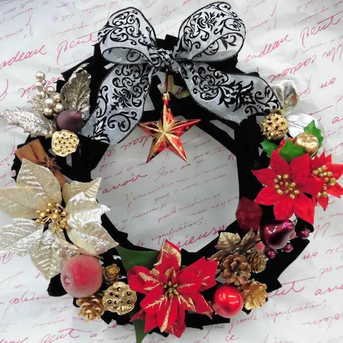 ベルベットブラッククリスマスリース♪38cmLサイズX'masリース