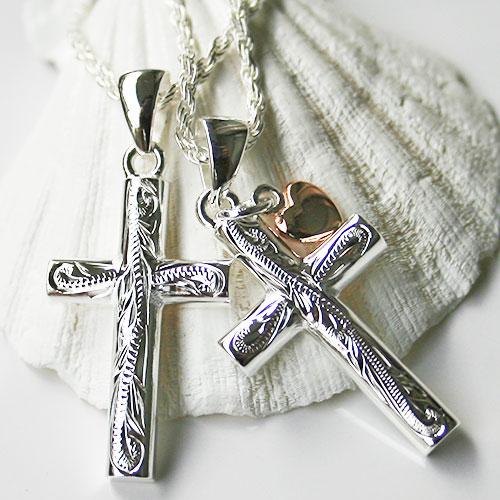 ペアネックレス 刻印 ハワイアンジュエリー チェーン ピンクハート クロス 十字架 ペアジュエリー チェーン付 かわいい 人気 安い プレゼント 誕生日 ギフト 記念日 春