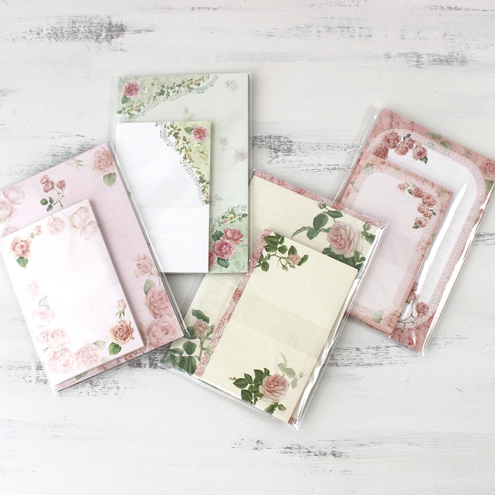 可愛い薔薇柄のレターセット 季節のご挨拶やお祝いメッセージにどうぞ 直送商品 レターセット ローズ柄 バラ ブランド品 薔薇 文具 メール便可 エレガント 封筒 便箋 ピンク 華やか おしゃれ 花柄 かわいい