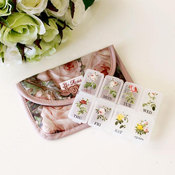 ピアスケースにも 毎日管理できるのでとっても便利 ピルケース ポーチ ルドゥーテローズ メール便可 セール開催中最短即日発送 花柄 携帯 おしゃれ サプリ 薬ケース ピアスケース バラ柄 かわいい 市販