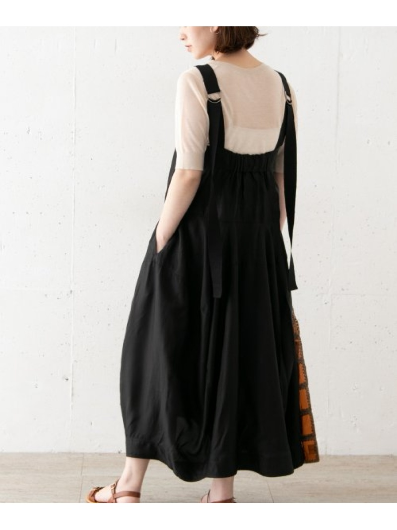 [Rakuten Fashion]LEEMATHEWSEdieApronDress ROSSO アーバンリサーチロッソ ワンピース ワンピースその他 ブラック【送料無料】