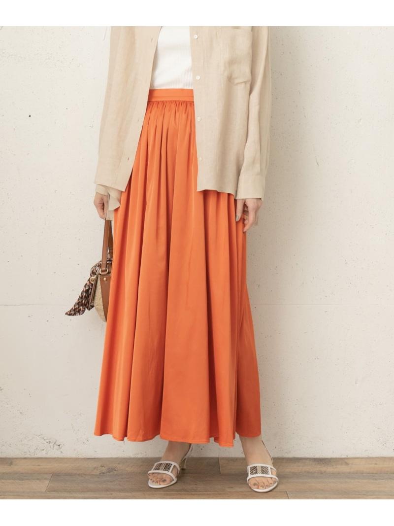 [Rakuten Fashion]FbyROSSOサテンギャザーロングスカート ROSSO アーバンリサーチロッソ スカート スカートその他 オレンジ グレー ベージュ【送料無料】