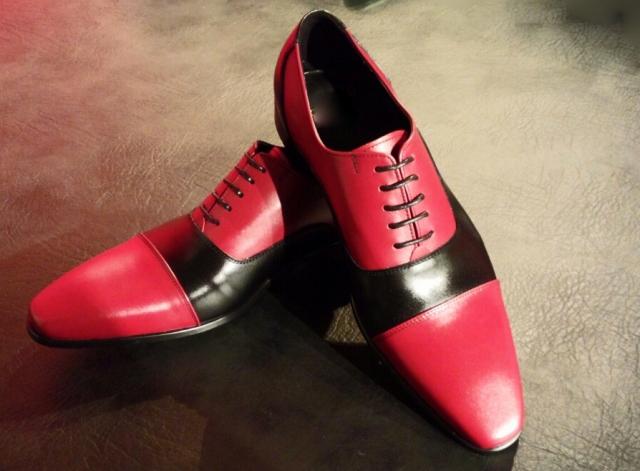 【RossoNero】 高級・本革!赤×黒(レッド×ブラック)コンビシューズ【結婚式/ウェディング/パーティー/フォーマルシーンに最適】