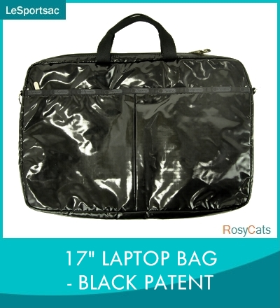"LeSportsac and lesportsac 17 ""LAPTOP BAG BLACK PATENT 7979-9902 PC case computer case laptop 17 inch laptop bag commute bag lesbo laptop sleeve lesbo real cheap"