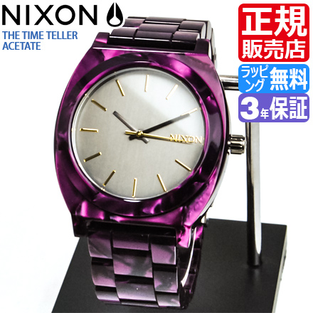 NIXON WATCH NA3271345-00 TIME TELLER ACETATE GUNMETAL/VELVET