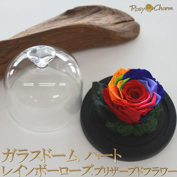レインボーローズ プリザーブドフラワー ガラスドーム誕生日プレゼント 記念日 プロポーズにバラの贈り物 ガラスドーム 予約販売 ハート お気に入 誕生日 プレゼント 結婚 1輪 贈り物 虹色 薔薇 花 箱入り プロポーズ 枯れない
