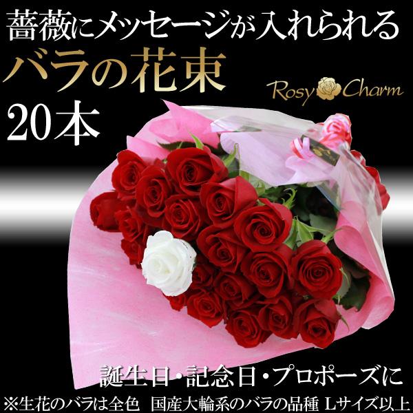 バラの花束 20本 プロポーズ 誕生日プレゼント 記念日に贈る メッセージプリザ ローズブーケ メッセージ入り薔薇の花束