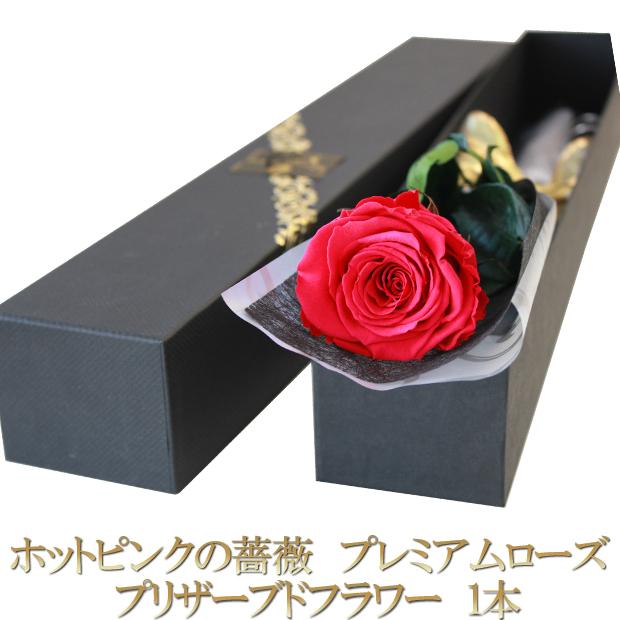 プロポーズ 結婚記念日 誕生日プレゼント 新品 送料無料 卒業祝いに贈る1輪の大輪の薔薇 ホットピンクのバラ プリザーブドフラワー1本 オリジナル高級BOXに入れてお届けします 大輪 プレミアムローズ 1本 薔薇一本 ギフト 結婚 お祝い 箱入り 記念日 バラ 保障 プリザーブドフラワー 1輪 花束