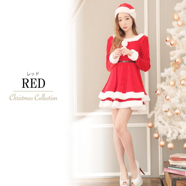 ae72342357ca5  あす楽 フレアクリスマスサンタコスチュームサンタコスコスプレX masサンタクロースレディースドレス