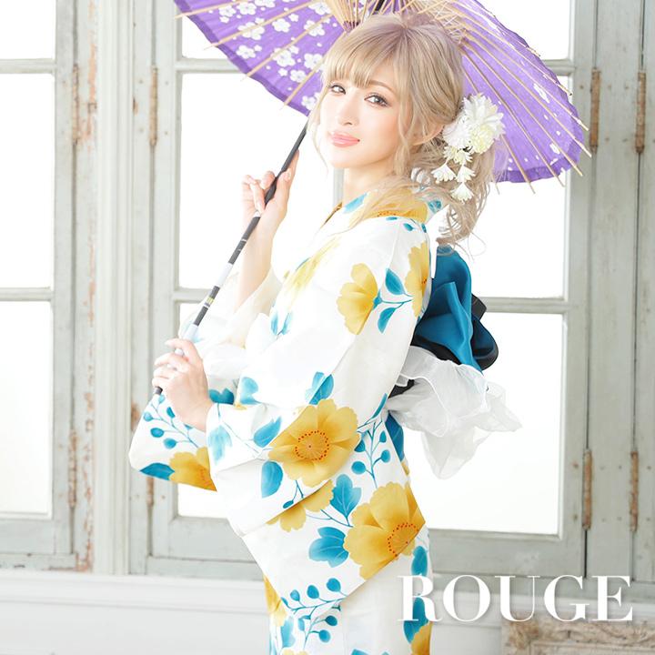 【あす楽】浴衣 3点セット 白地x黄色の花模様浴衣セット 花柄 セクシー レディース【ROUGE   ルージュ】Y207