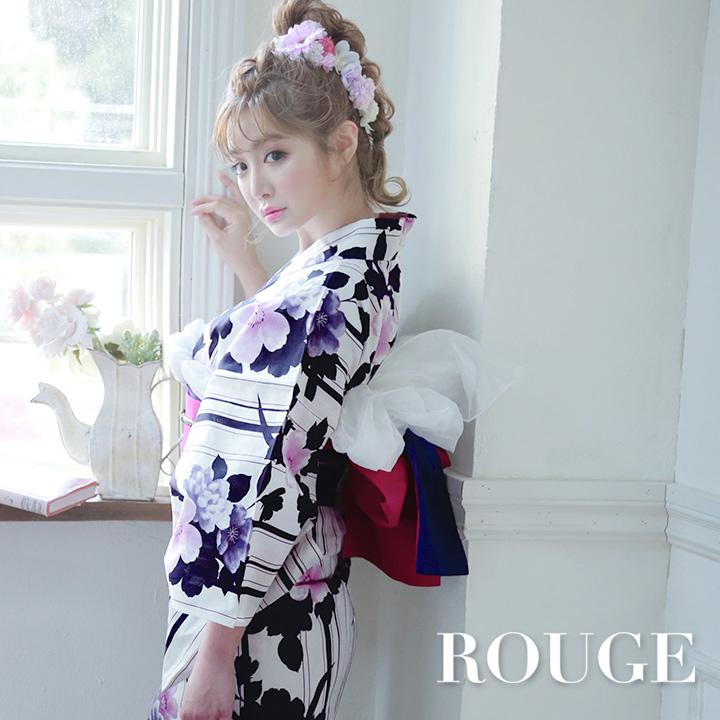 【あす楽】【浴衣3点セット】縞模様x紫の花浴衣セット レディース【ROUGE | ルージュ】Y326