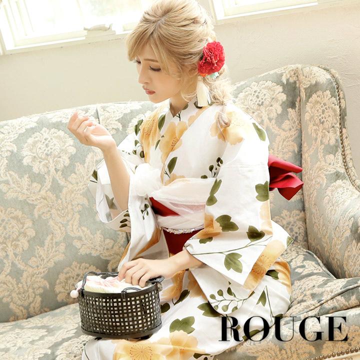 【あす楽】【浴衣3点セット】白地に黄色い花浴衣セット レディース【ROUGE | ルージュ】Y329