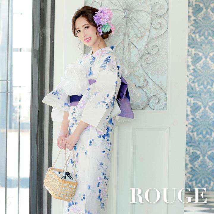 【あす楽】【浴衣3点セット】白地x青色花模様浴衣セット レディース【ROUGE | ルージュ】Y340