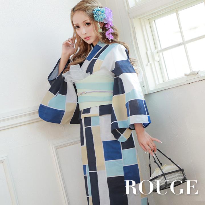 【あす楽】【浴衣3点セット】幾何学模様浴衣セット レディース【ROUGE | ルージュ】Y350