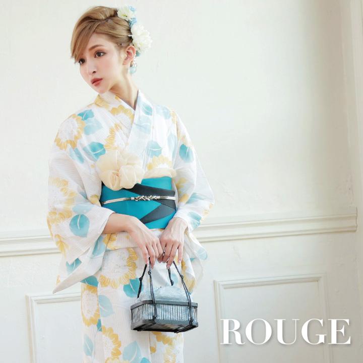 【あす楽】【浴衣3点セット】白地x黄色花模様浴衣セット レディース【ROUGE | ルージュ】y358