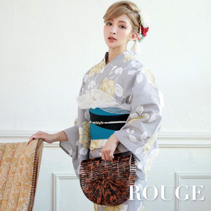 【あす楽】【浴衣3点セット】グレー地に牡丹模様浴衣セット レディース【ROUGE | ルージュ】y362