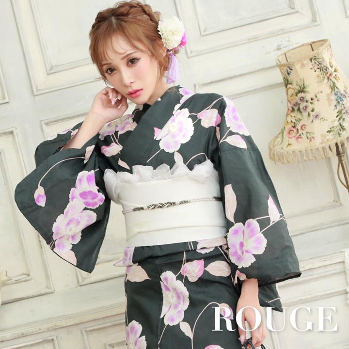 【あす楽】【浴衣3点セット】深緑x紫色の花模様浴衣セット レディース【ROUGE   ルージュ】y399