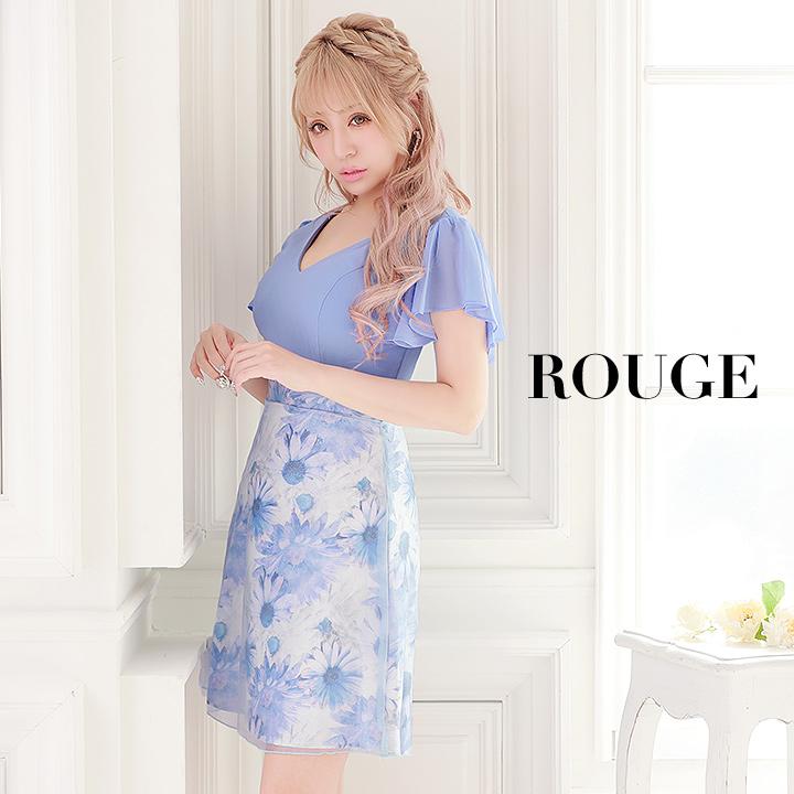 キャバドレス ドレス 大きいサイズ s m l xl ミニ フリル フレアワンピース 花柄 ブルー【ROUGE | ルージュ】 ミニドレス 6130SB-1901-1[OF04]