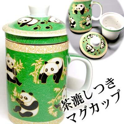 茶輸液器 [綠色公園熊貓] 杯子 02P01Oct16