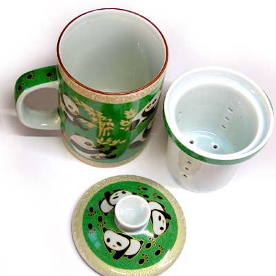 茶漉し,并且从属于的啤酒杯茶杯[绿园大熊猫]