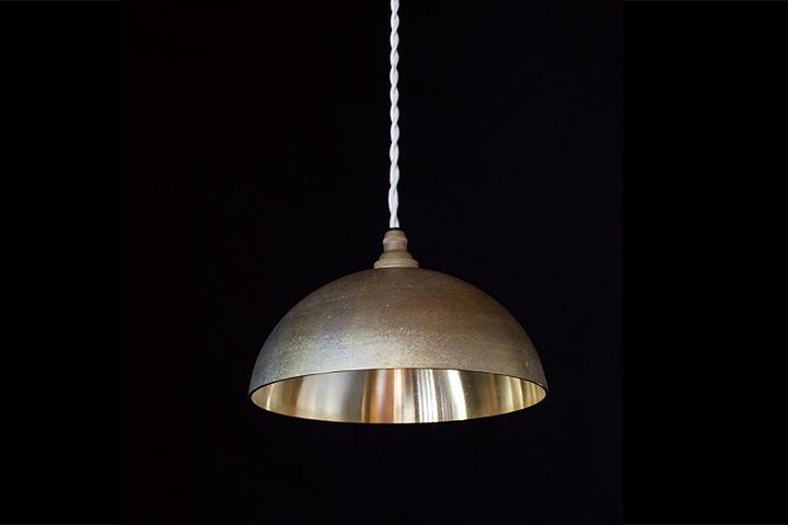 【一部地域 送料無料】FUTAGAMI フタガミ ペンダントランプ 半球 削り出し 鋳肌二上 日本老舗 真鍮鋳物照明 金属ランプシェード【ポイント】: